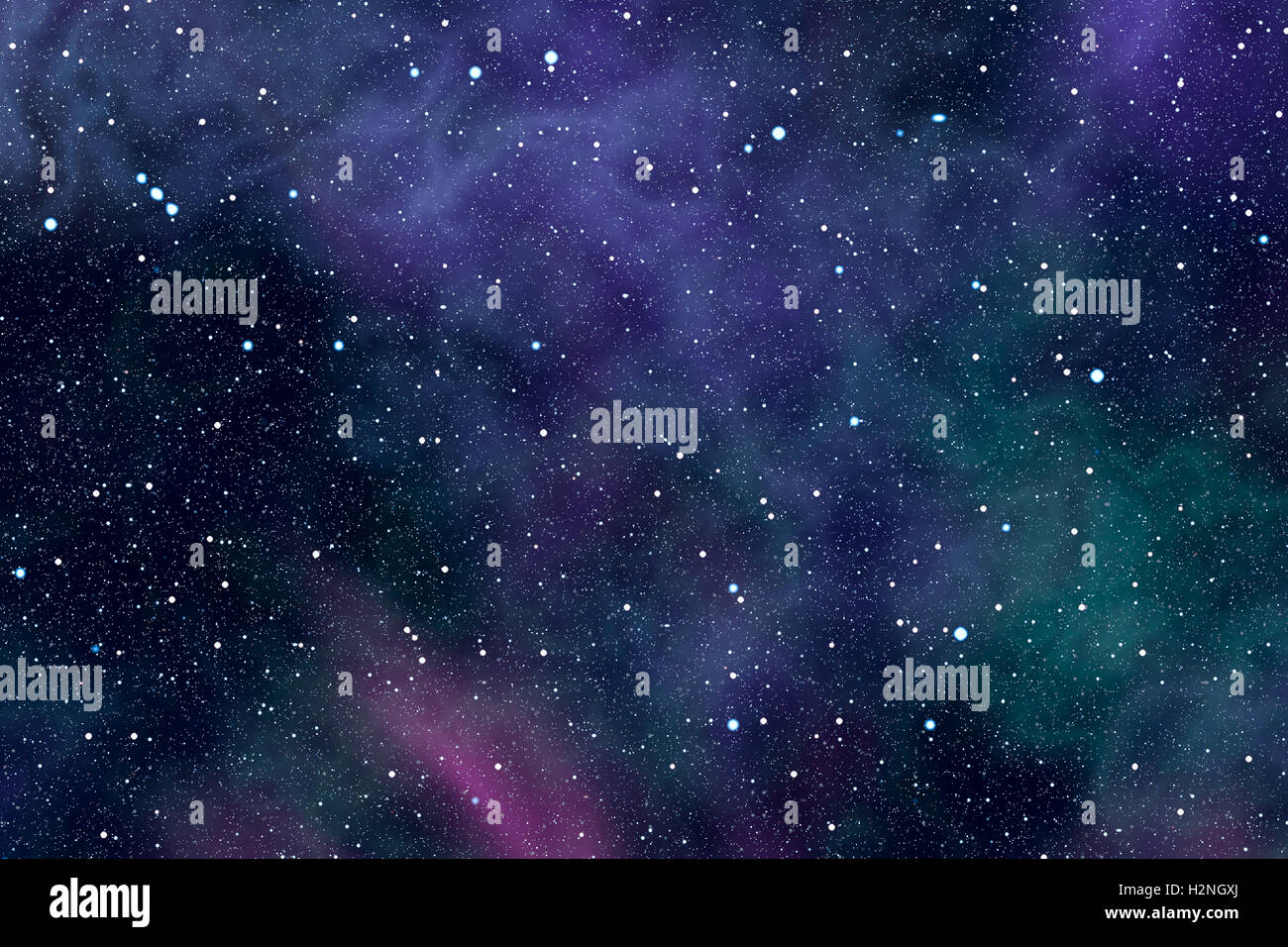 High resolution abstract background with cosmic space filled by stars and colored nebulae. - Stock Image