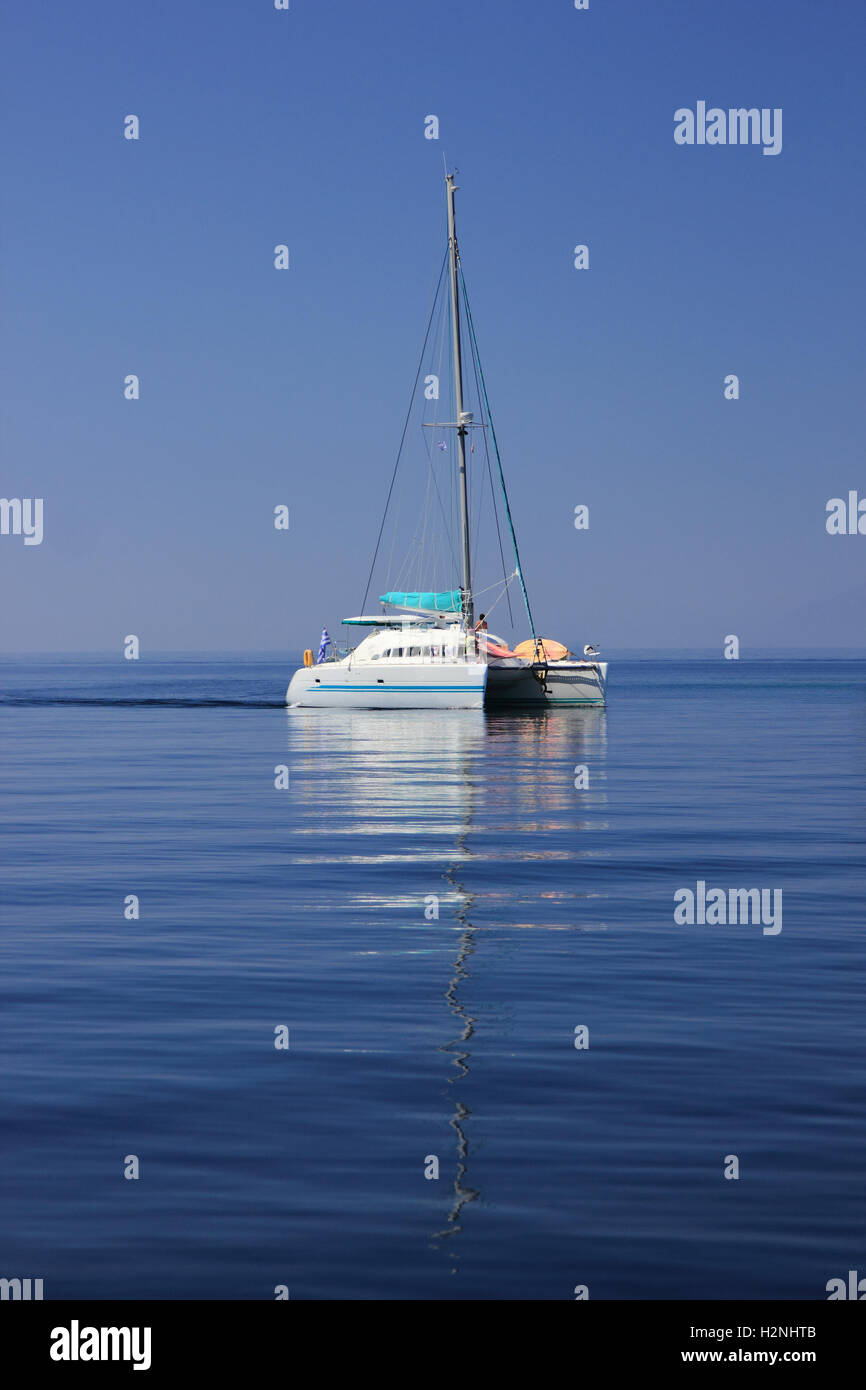 Sailing in Greece around the Ionian islands - Stock Image