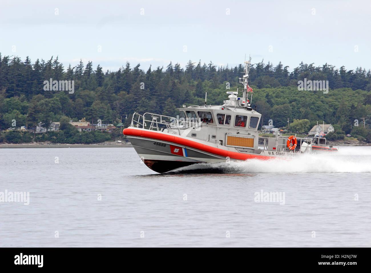 U.S. Coast Guard 45FT Response boat San Juan Islands Washington State USA - Stock Image