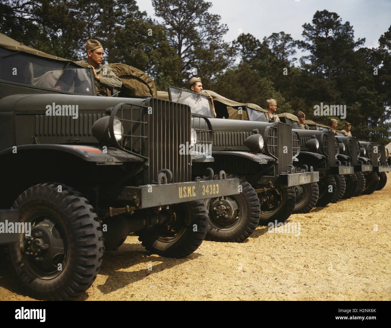 Motor Detachment, Marine Corps Air Station New River, Jacksonville, North Carolina, USA, Alfred T. Palmer for Office - Stock Image