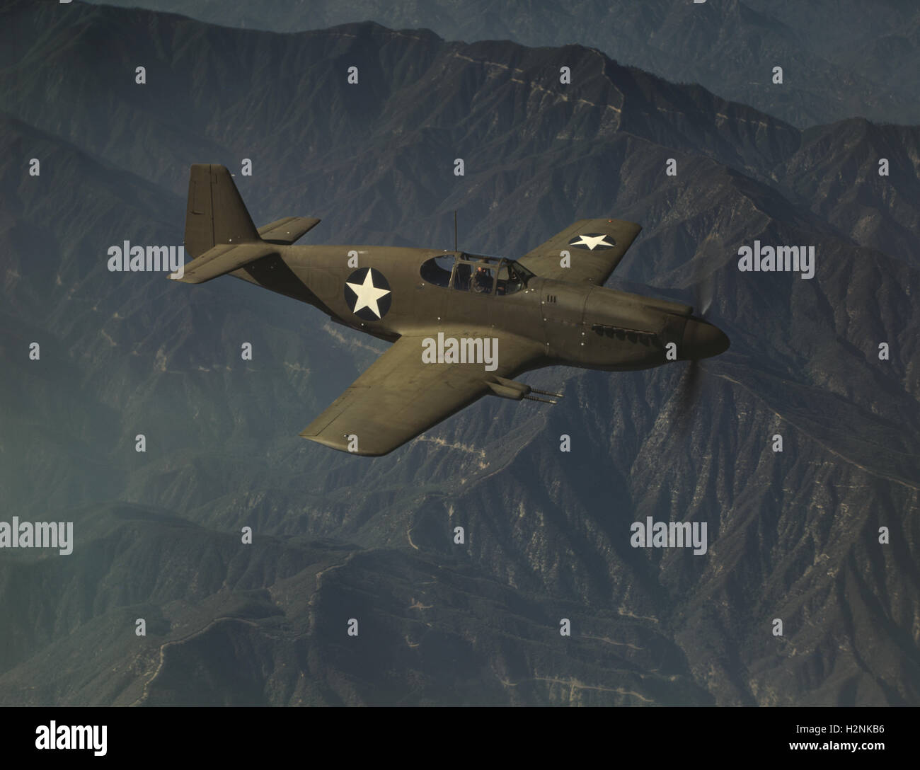P-51 'Mustang' Fighter Plane  in Flight, USA, Alfred T. Palmer for Office of War Information, October 1942 - Stock Image
