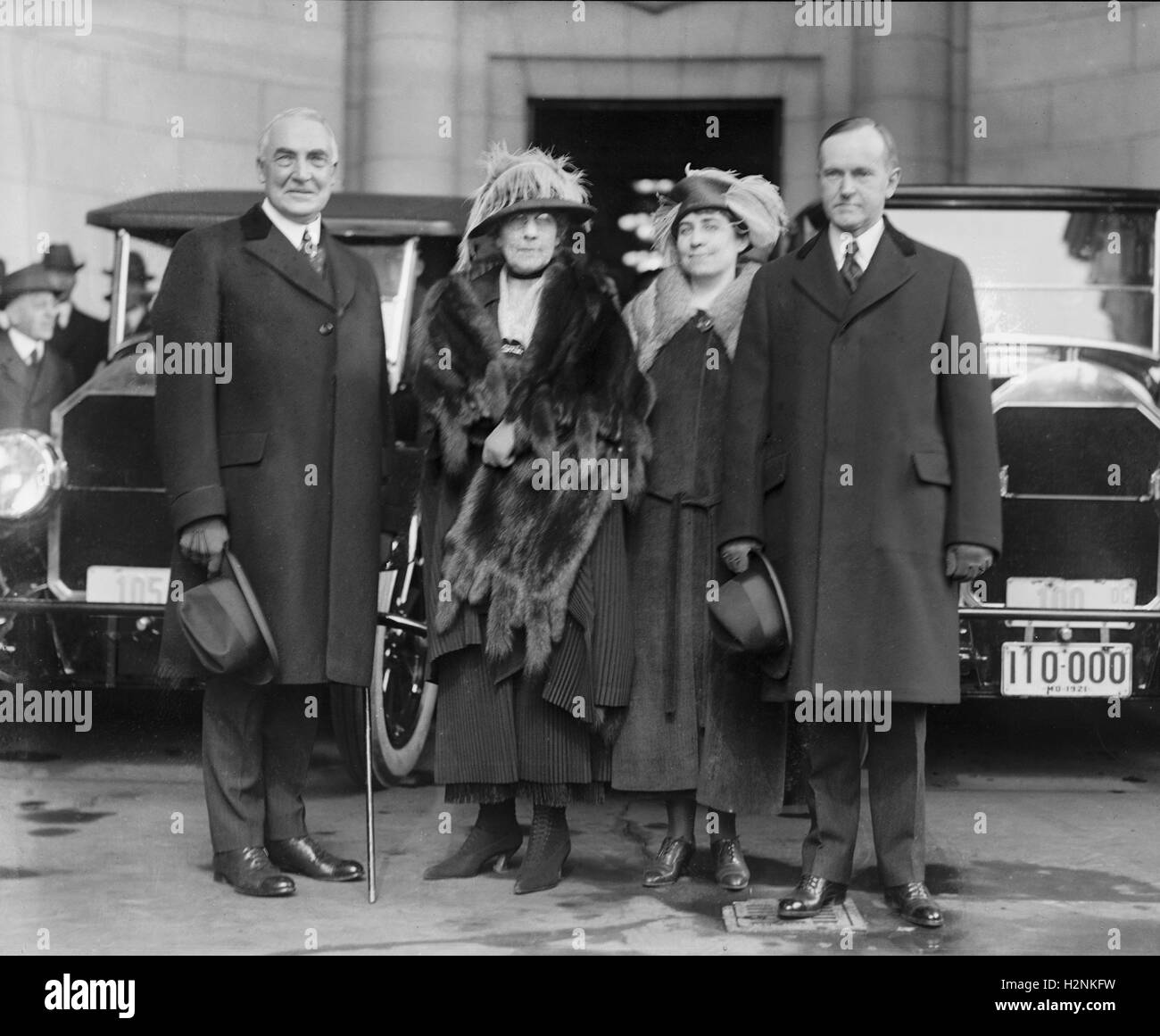 President-Elect Warren G. Harding, wife Florence Harding, Grace Coolidge, Vice President-Elect Calvin Coolidge, Stock Photo