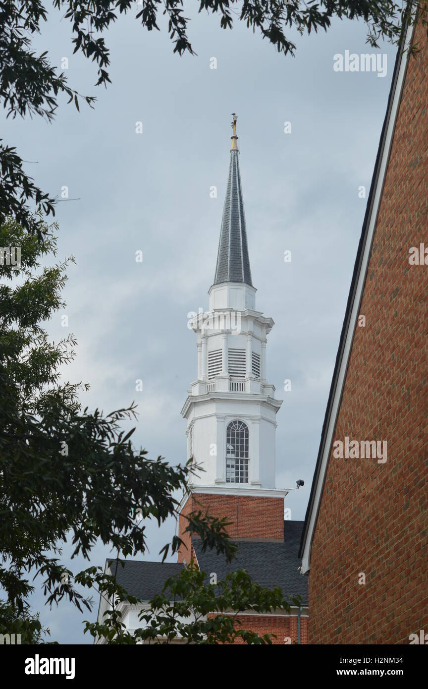 Church Steeple of the First United Methodist Church in Chestertown, Kent County, Maryland, US Stock Photo
