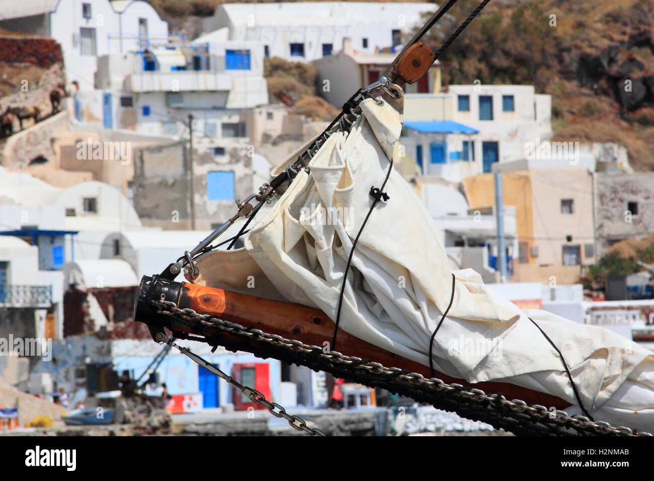 Saling ship in the old port of oia Santorini island Greece - Stock Image