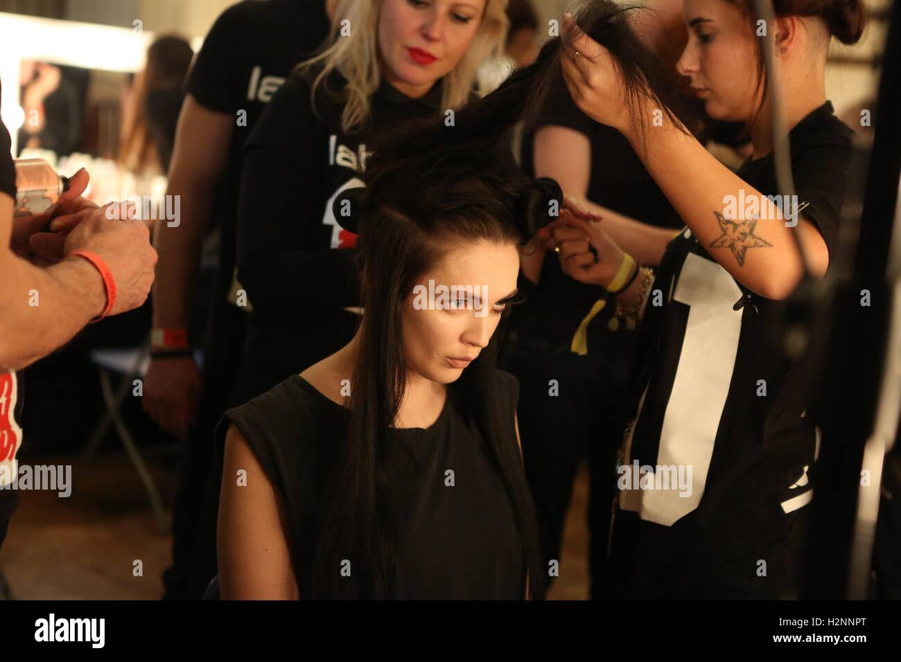 Backstage at London Fashion Week - Stock Image