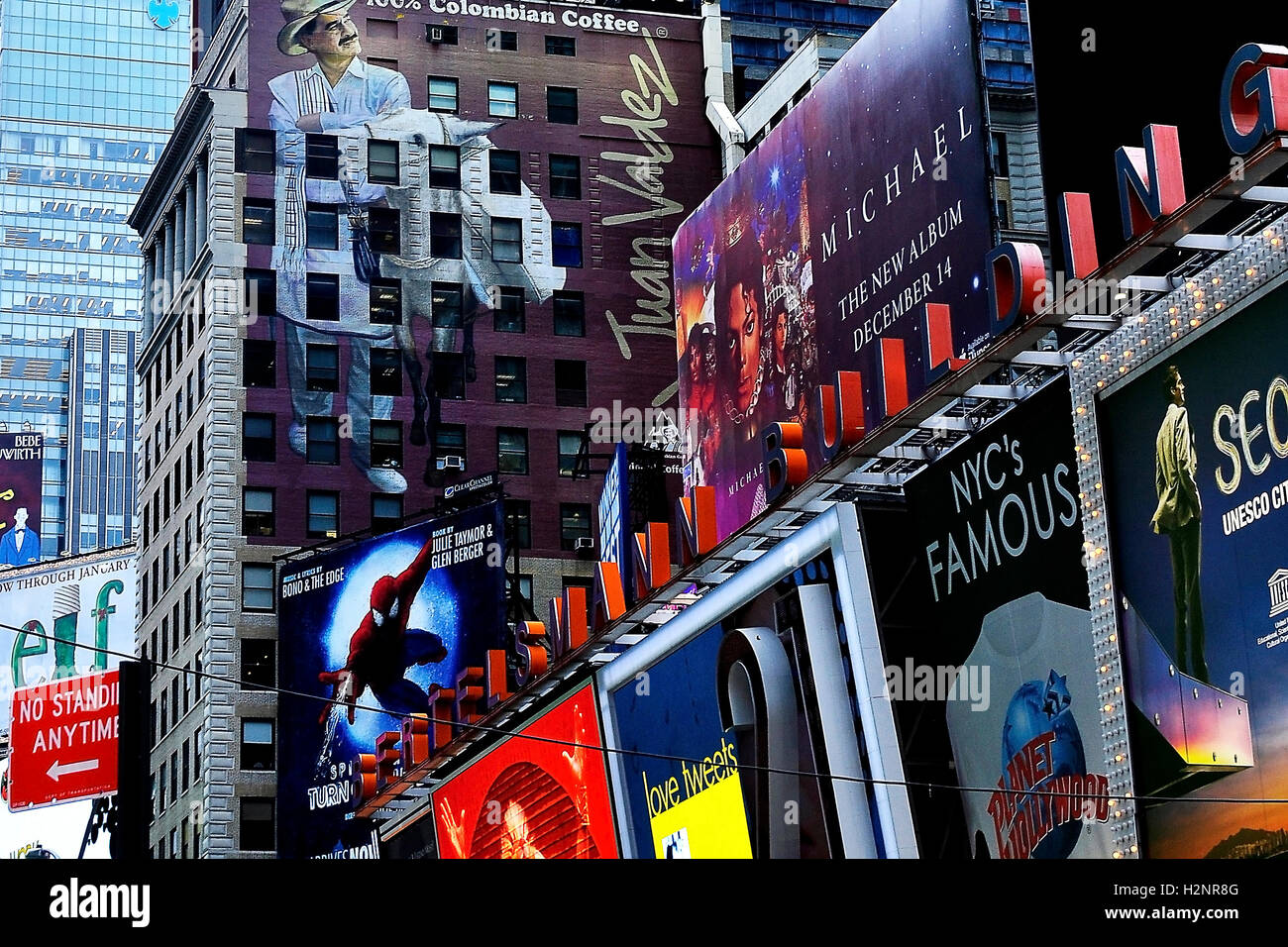 Billboards in New York, Times Square - in the Midtown Manhattan section of New York City at the junction of Broadway - Stock Image