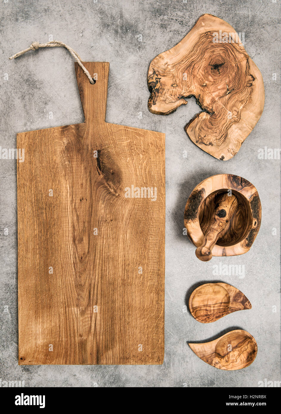 Kitchen tolls and utensils. Olive wood. Food background - Stock Image