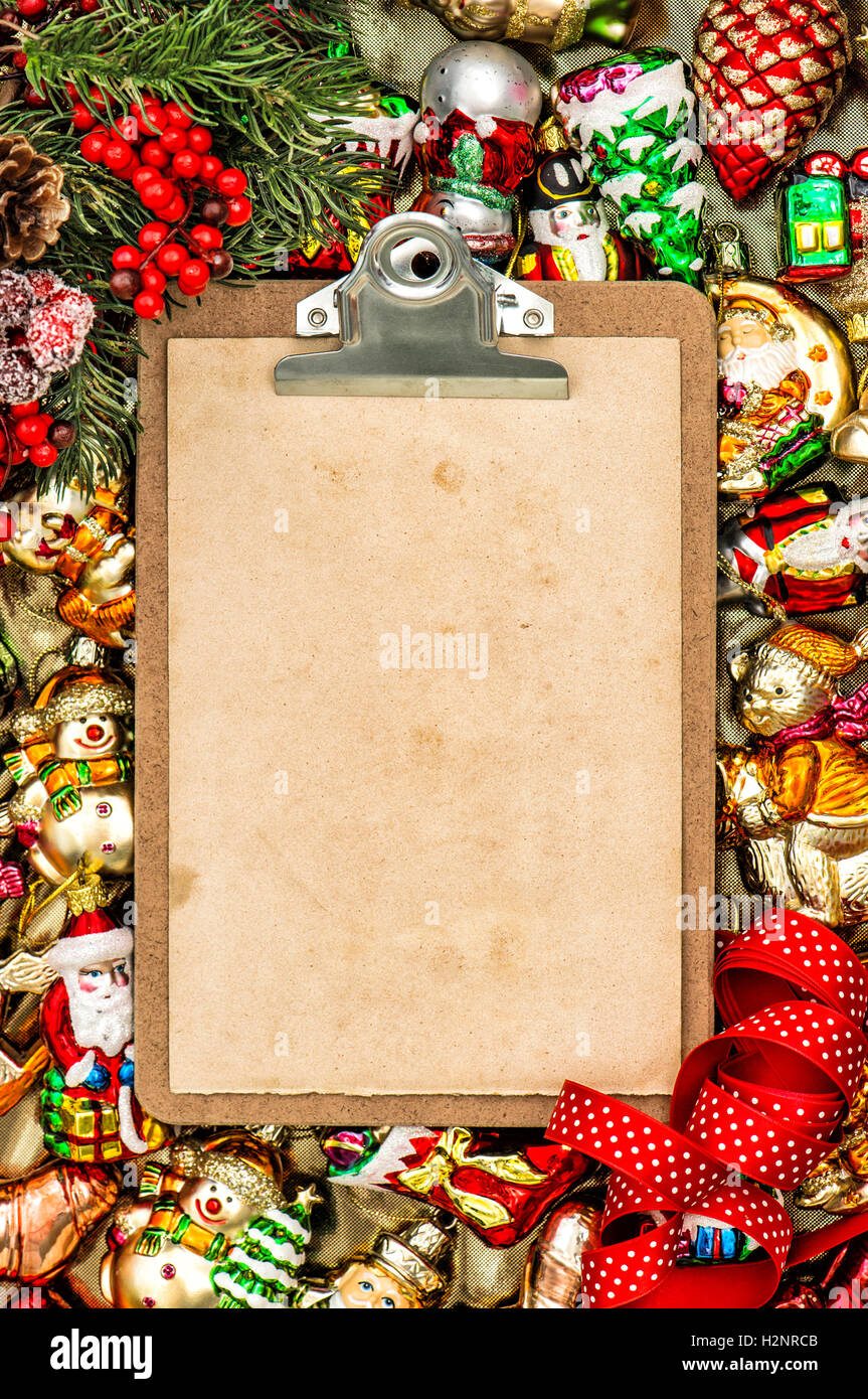 Christmas Holidays Background Clipboard With Paper For A Letter And