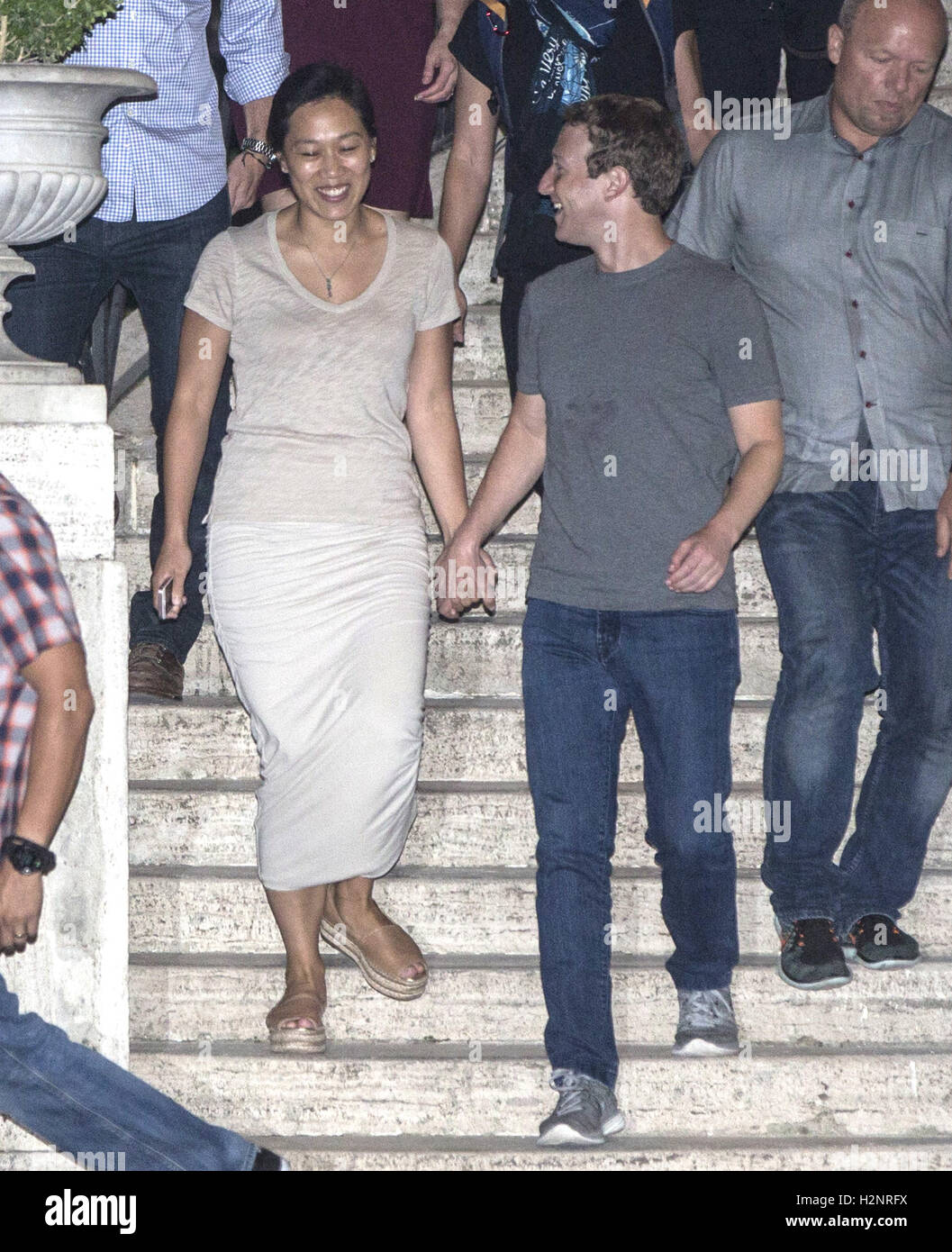 Mark Zuckerberg and his wife Priscilla enjoy a late night