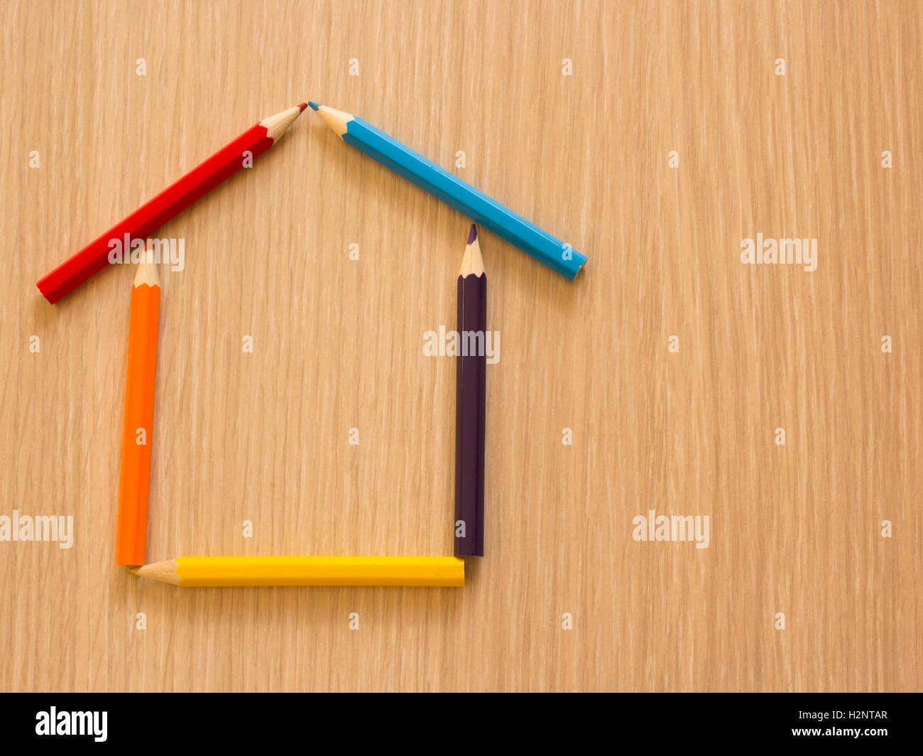 house made with colored pencils - Stock Image