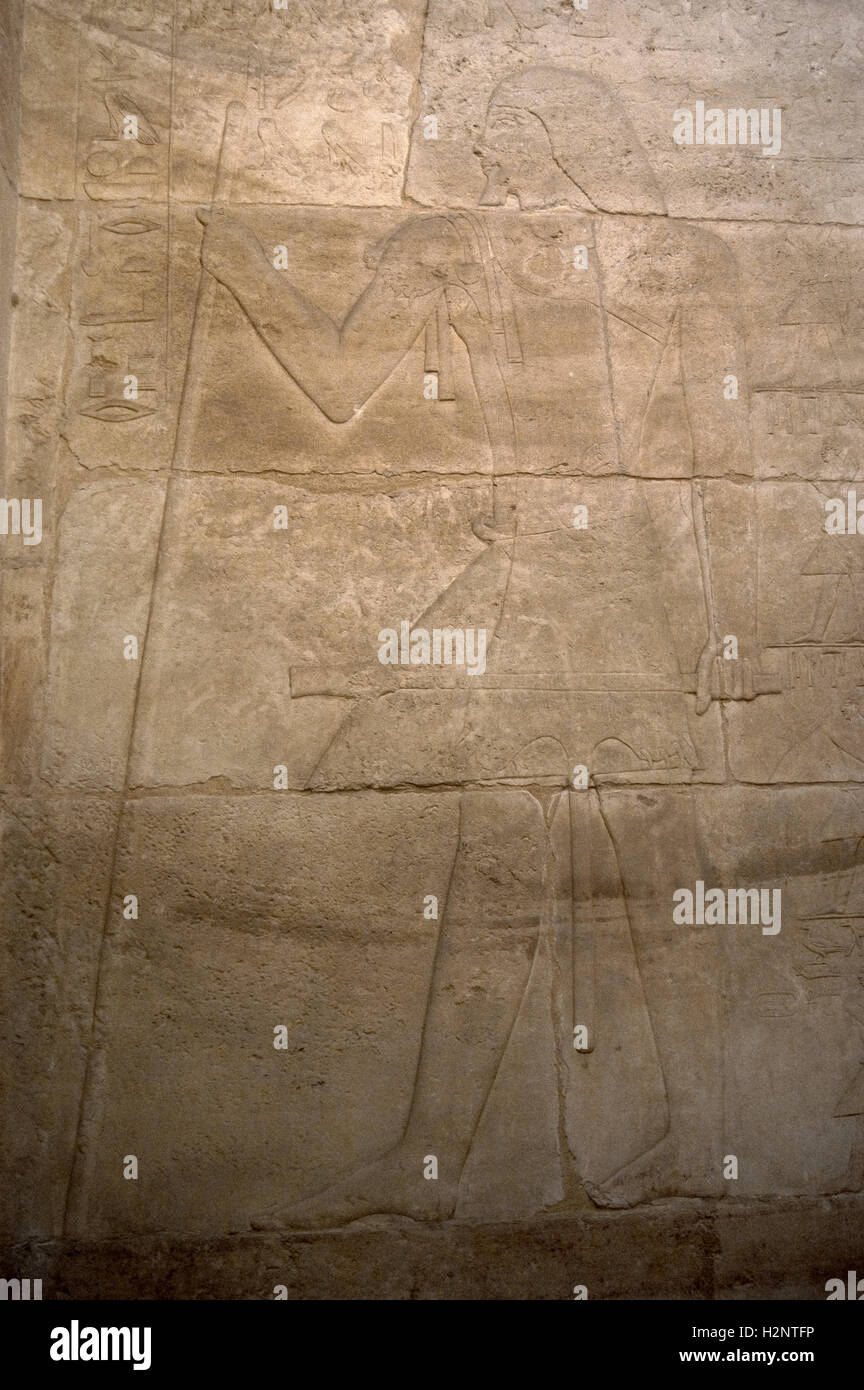 Egypt. Necropolis of Saqqara. Mastaba of Kagemni (2350 BC). Chief Justice and vizier of the Pharaoh Teti. Relief - Stock Image