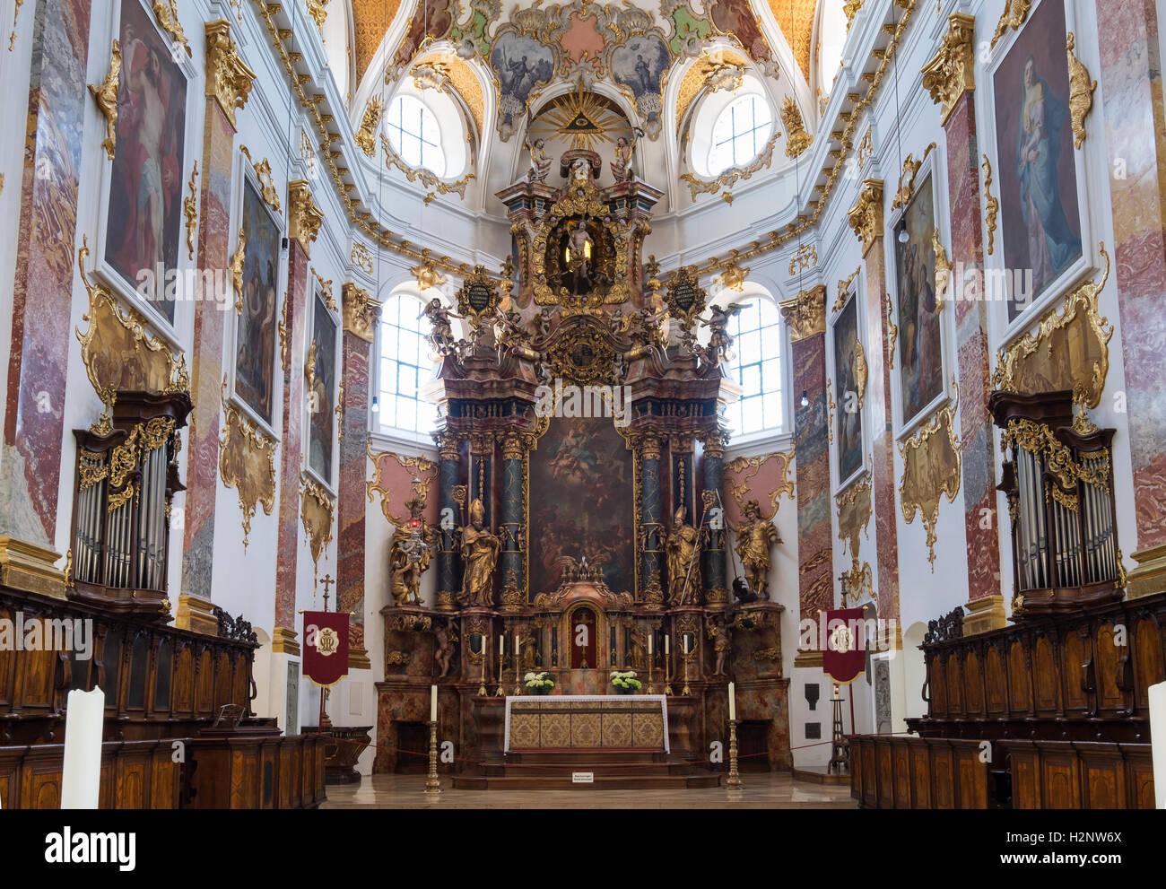 Main altar, parish church of St. Martinus and Maria, Biberach an der Riss, Upper Swabia, Swabia, Baden-Württemberg, - Stock Image