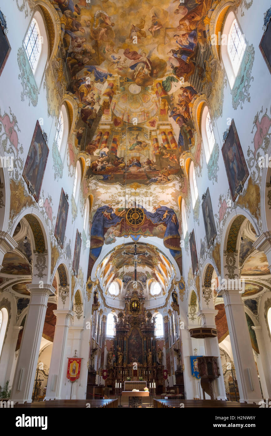 Parish Church of St. Martinus and Maria, Biberach an der Riss, Upper Swabia, Swabia, Baden-Württemberg, Germany - Stock Image