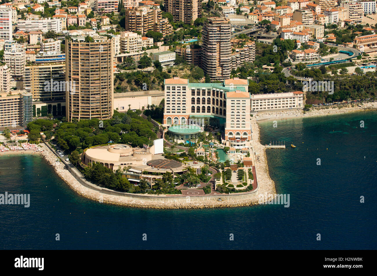 aerial view monte carlo bay hotel and sporting club. Black Bedroom Furniture Sets. Home Design Ideas