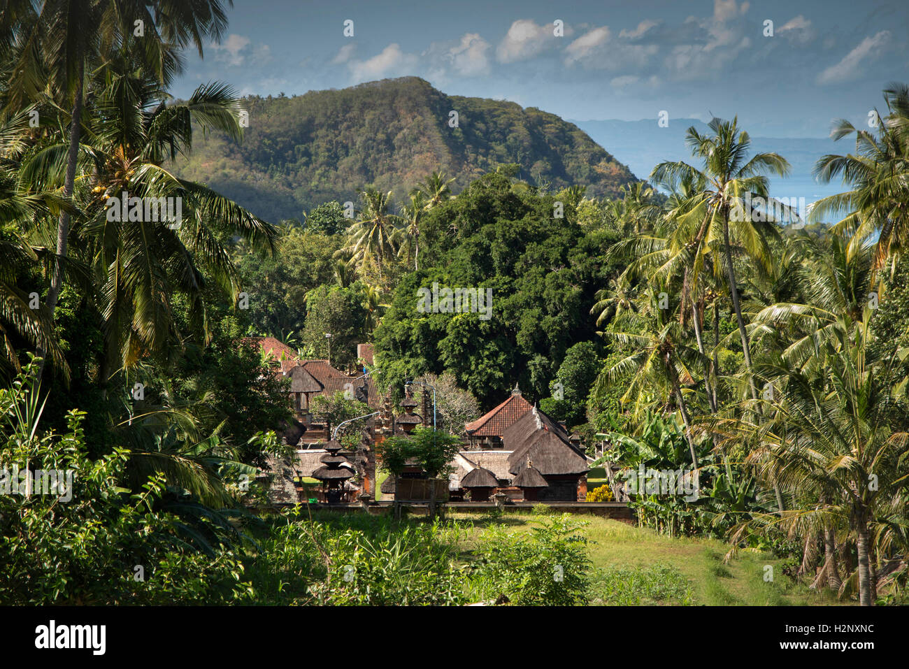 Indonesia, Bali, Manggis, elevated view of hillside temple from Bukit Telengan - Stock Image