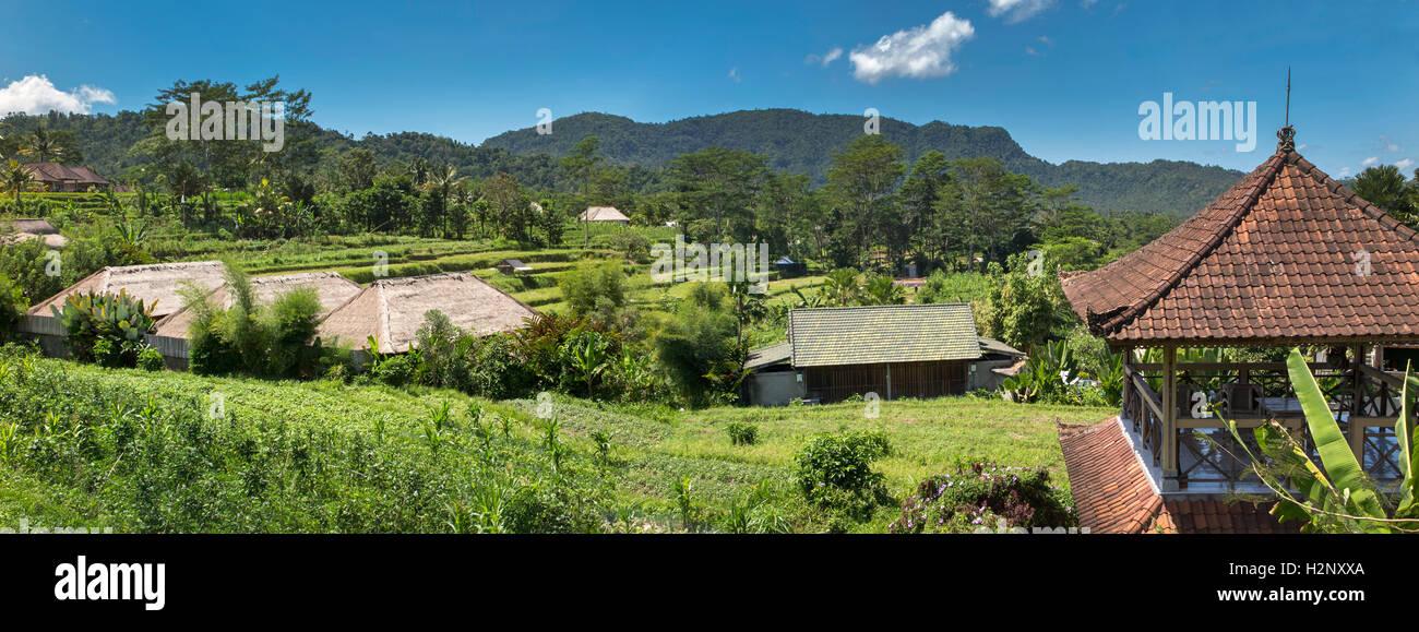 Indonesia, Bali, Sidemen, Banjar Tabola, panoramic view across rice fields from Saman Vaya hotel - Stock Image