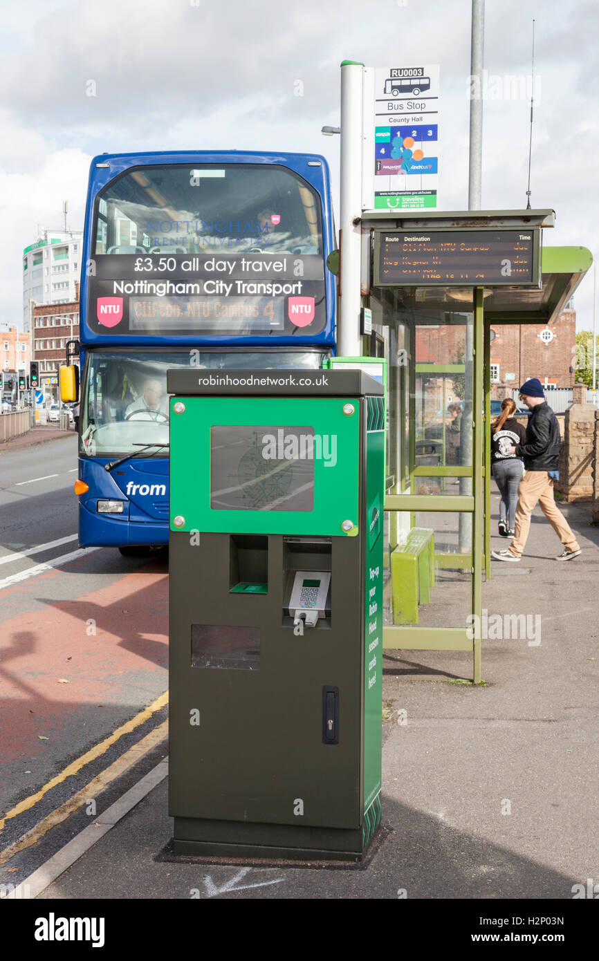 Robin Hood Network Smart Ticket Machine At A Bus Stop West Bridgford Nottinghamshire England Uk