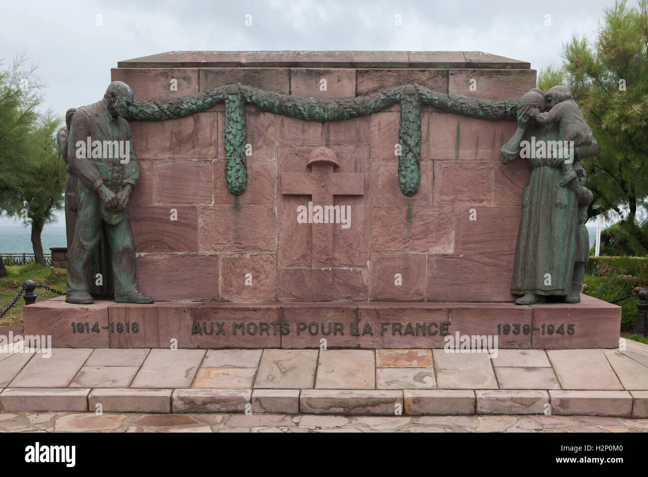 French War Memorial to fallen in World War I and World War II in Biarritz, French Basque Country, France. - Stock Image
