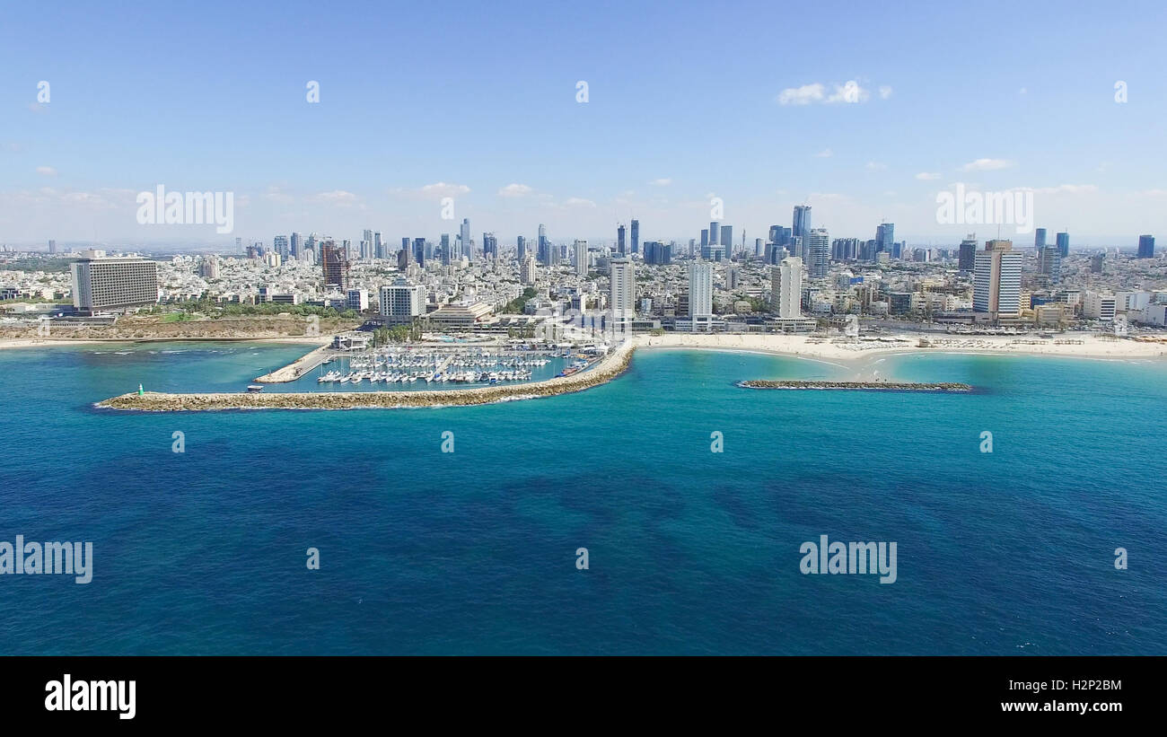 Tel Aviv skyline - Moving in from the mediterranean sea, Aerial image - Stock Image
