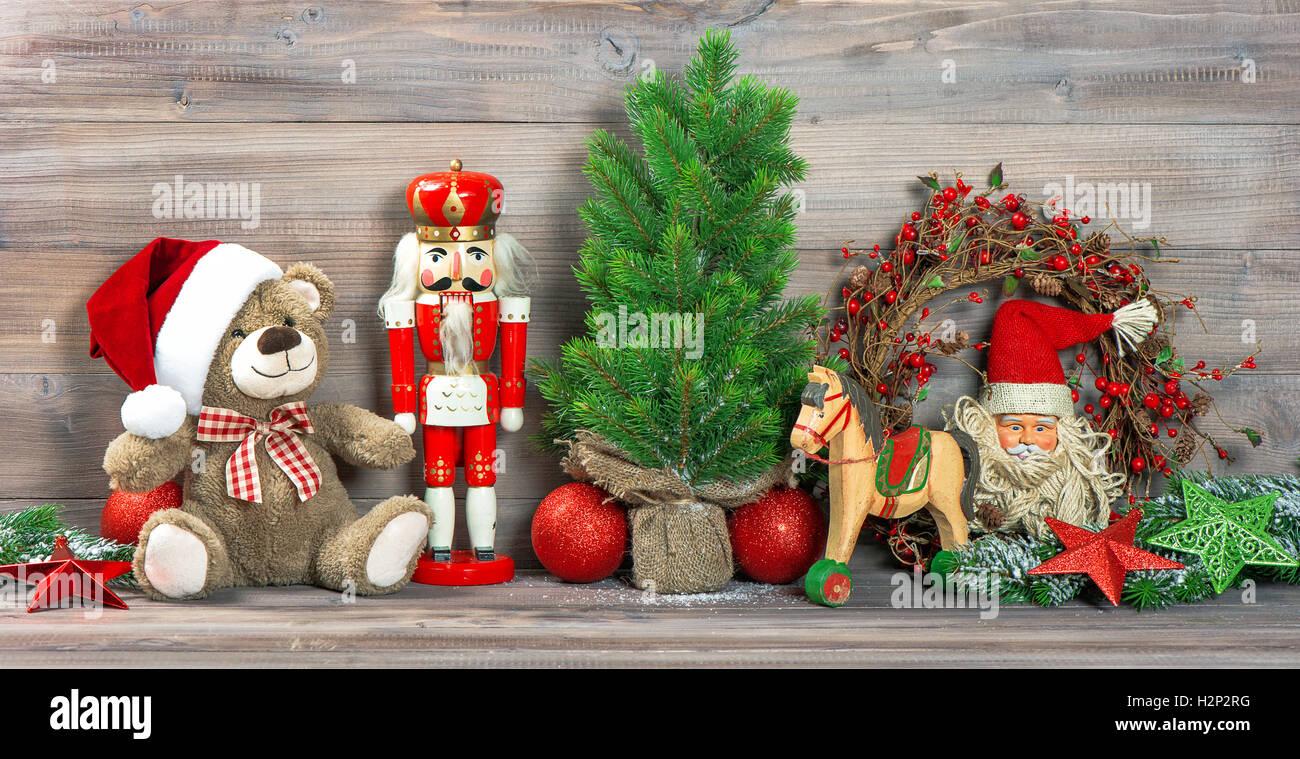 Christmas Decoration With Antique Toys Teddy Bear And Nutcracker Stock Photo Alamy