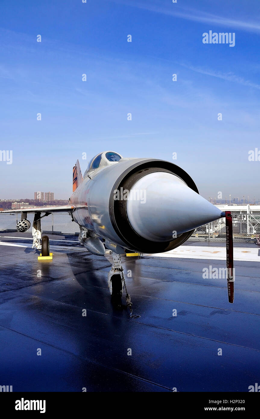Russian fighter plane on the USS Carrier Intrepid - Stock Image