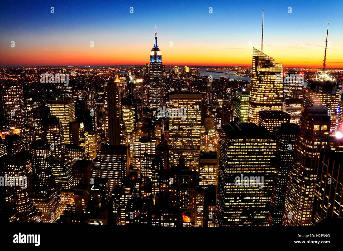 Subset over mid town Manhattan taken from the Rockefeller Centre - New York City -USA - Stock Image