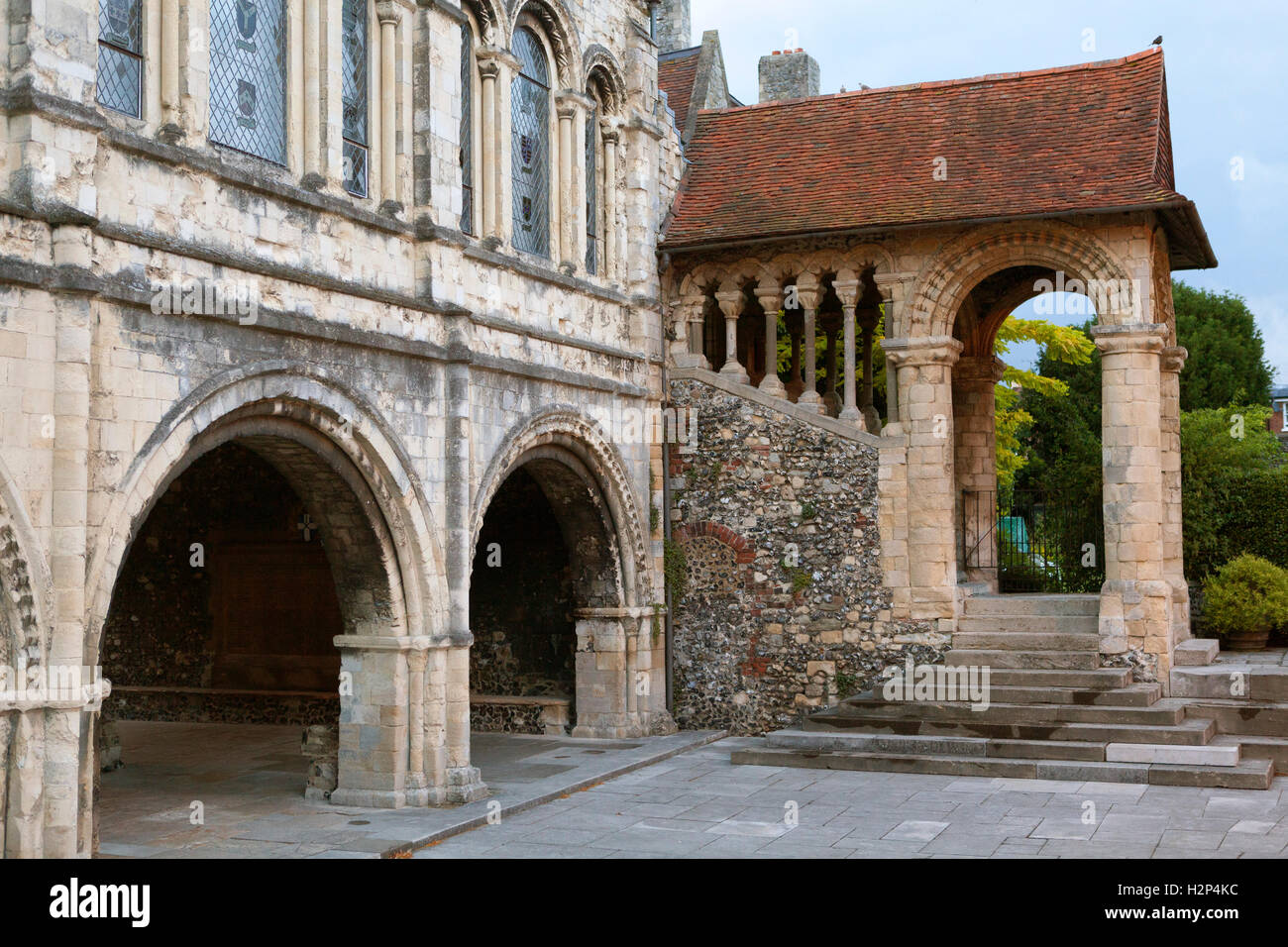 The King's School, Canterbury, showing the famous Norman staircase - Stock Image
