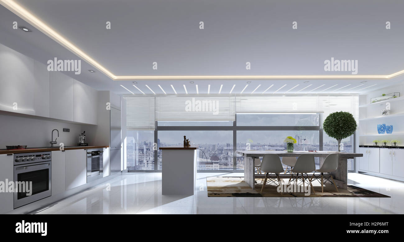3D rendering of spacious kitchen and dining room with track lighting ...