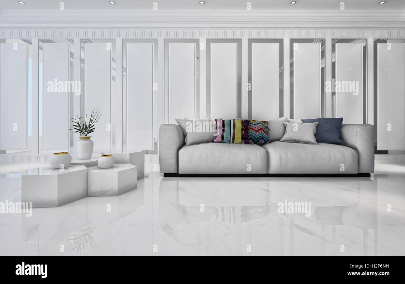 3D rendering of marble table with plant and large comfy sofa in ...