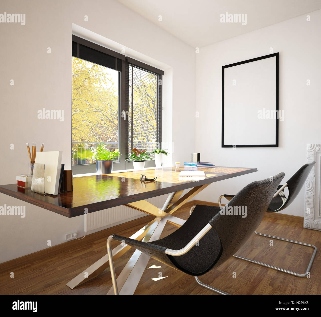 Modern Neat Home Office Interior Decor With Two Contemporary Modular Stock Photo Alamy