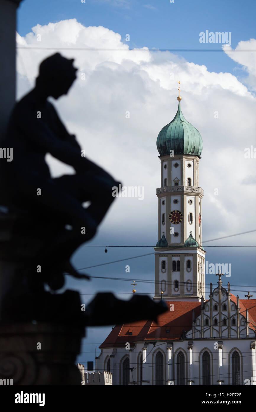 Saints Ulrich and Afra's Basilica designed by German architect Burkhart Engelberg in Augsburg, Bavaria, Germany. - Stock Image