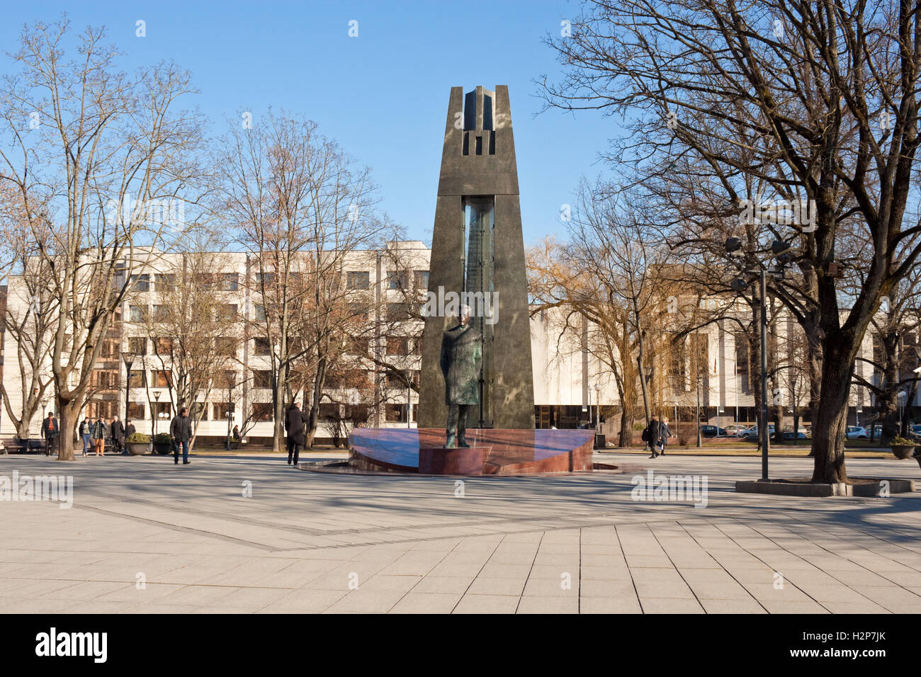 Vilnius, Lithuania - March 17, 2015: Monument to Vincas Kudirka, lithuanian National Hero, on the square in Vilnius. Stock Photo