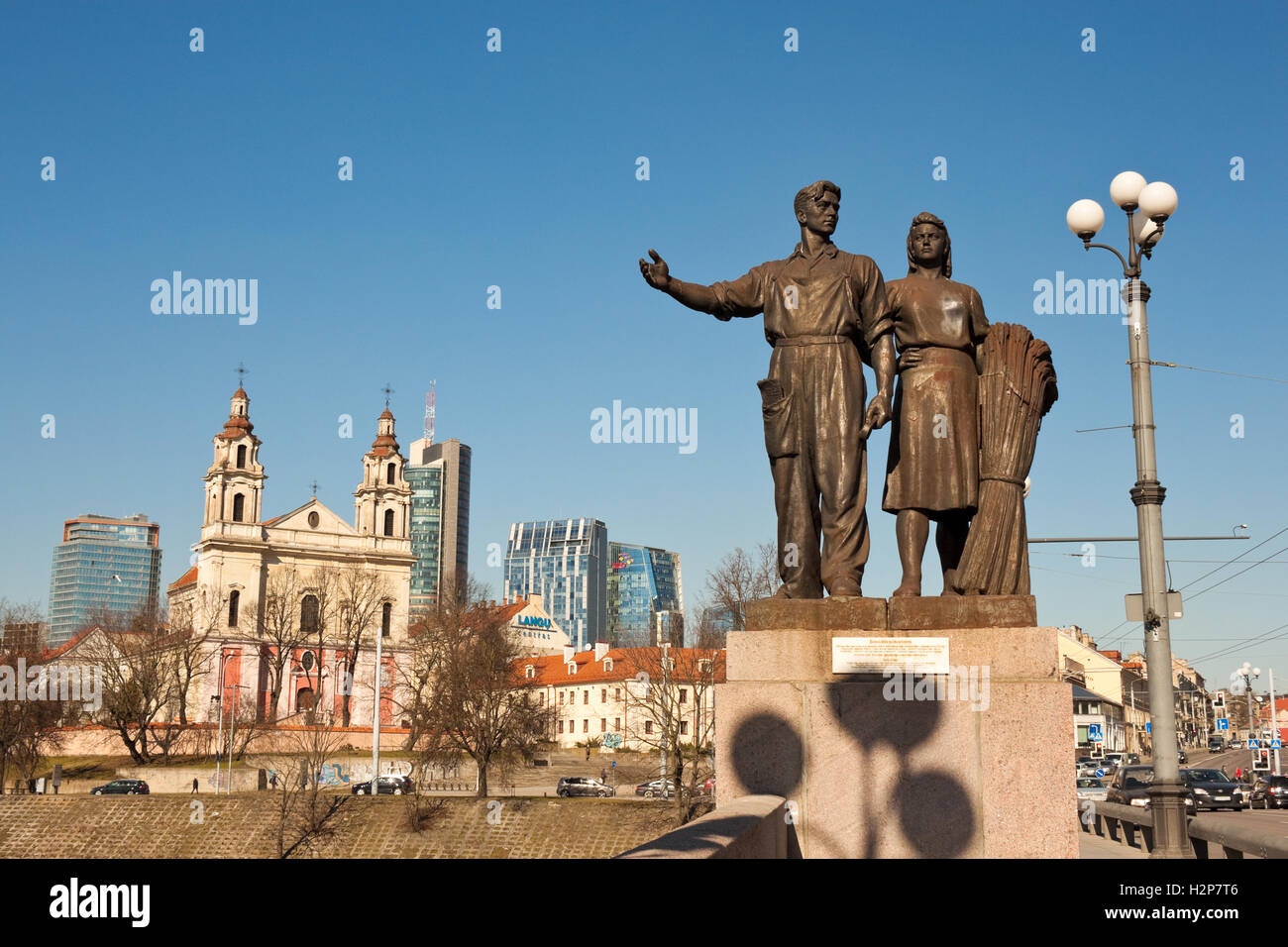 "Vilnius, Lithuania - March 16, 2015: Soviet realism sculptural group ""Agriculture"" on the Green bridge. Stock Photo"