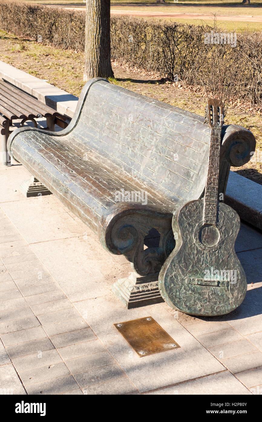 Vilnius, Lithuania - March 16, 2015: Memorial for Vytautas Kernagis (1951-2008), lithuanian bard, singer, songwriter, - Stock Image