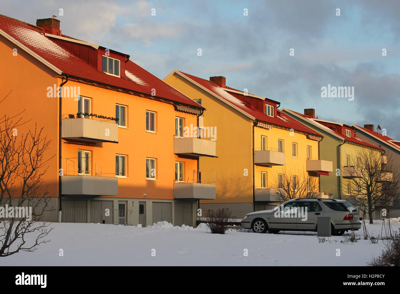Mid-century apartment buildings, Alingsås, Sweden - Stock Image