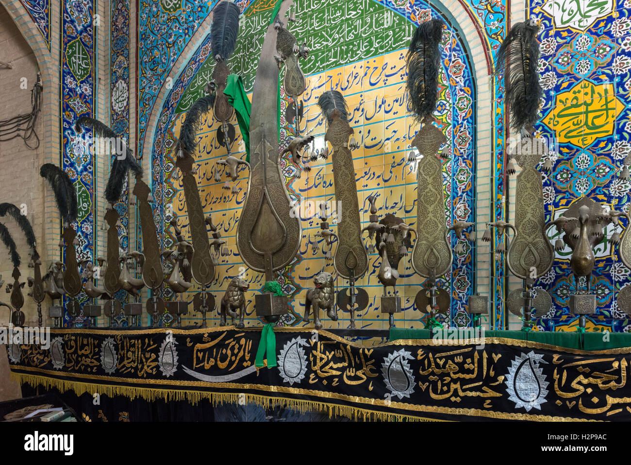 Kerman, Bazaar Shop, Alam Used For Ashura Processions - Stock Image
