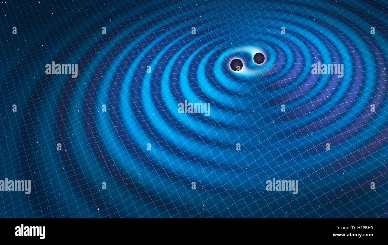 Gravitational waves. Illustration of two black holes orbiting each other, emitting gravitational waves. Gravitational - Stock Image