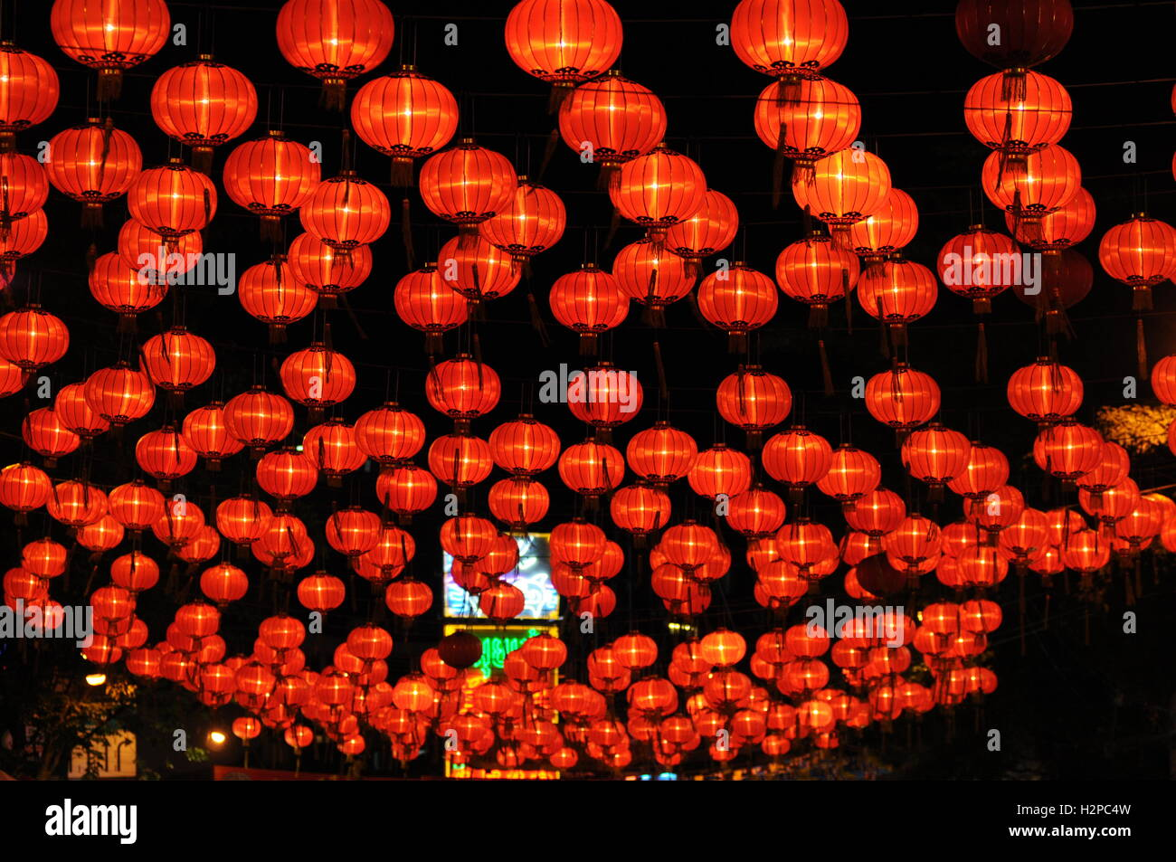 Chinese Lanterns Light Up Chinatown At Night During Year Of The Stock Photo Alamy