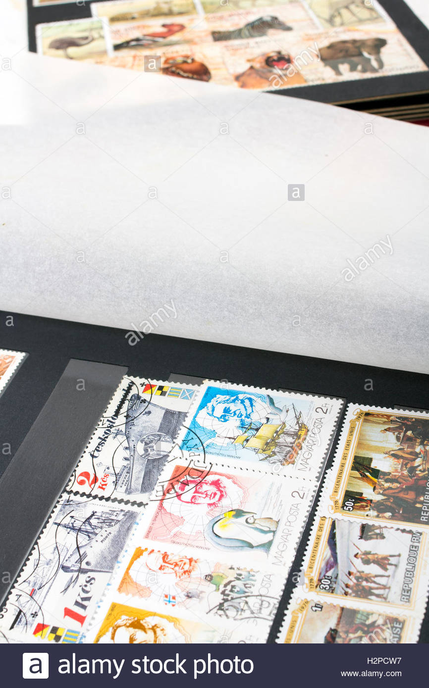 stamp album with colorful stamps Stock Photo
