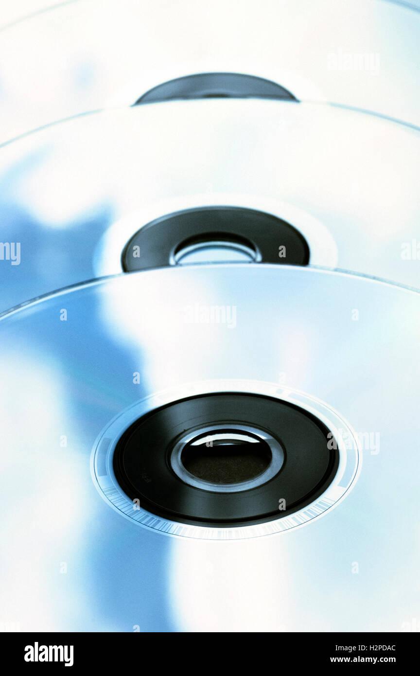 row of DVD discs - Stock Image