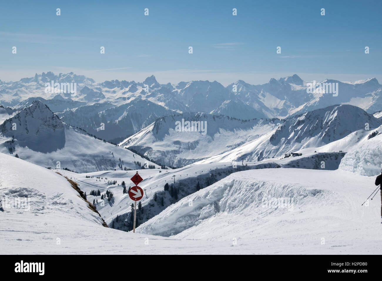 sign on ski piste in winter landscape - Stock Image