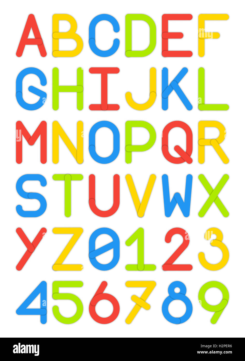 JPEG English Font Typeface Capital Letters And Numbers Modern Style Sans Serif Colorful Red Yellow Blue Green Illustration