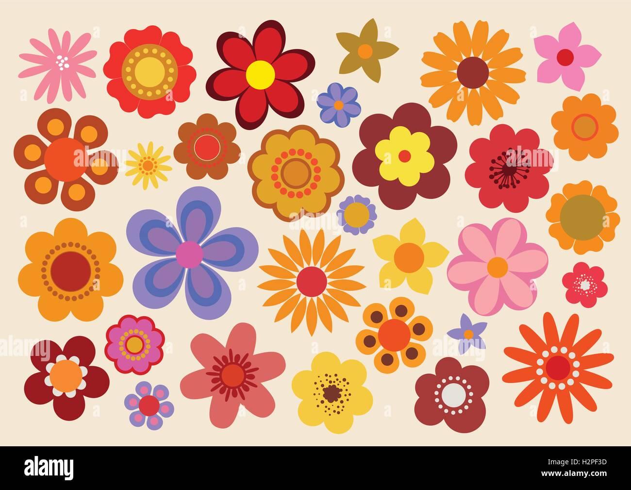 Vintage Flowers 60s/70s - Stock Image