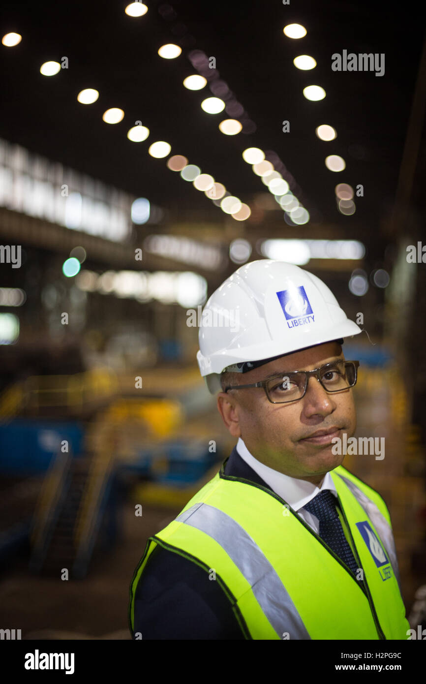 Sanjeev Gupta, CEO of Liberty House Group, at Liberty Steel Dalzell steelworks in Motherwell, Scotland, on 28 September Stock Photo