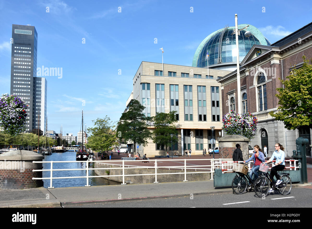 Leeuwarden city  Netherlands Friesland Fryslan old center ( left Achmeatower - Willemskade - Libary and Fries Museum - Stock Image