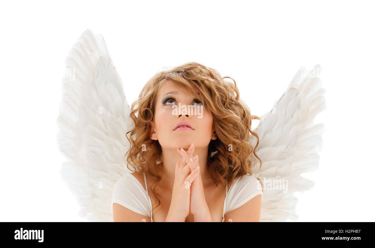 Young Angel Girl Praying Isolated Stock Photos Young Angel Girl