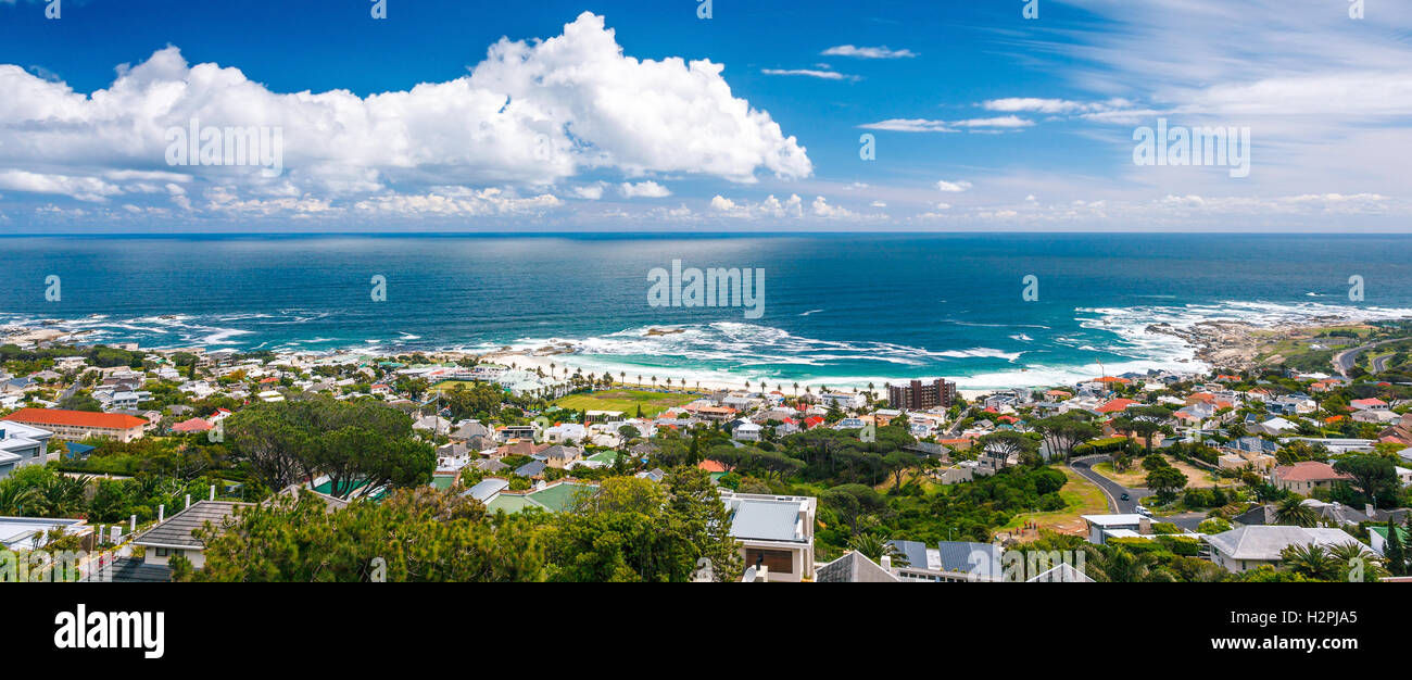 Camps Bay panoramic landscape, beautiful coastal city, famous touristic place, Cape Town, South Africa - Stock Image