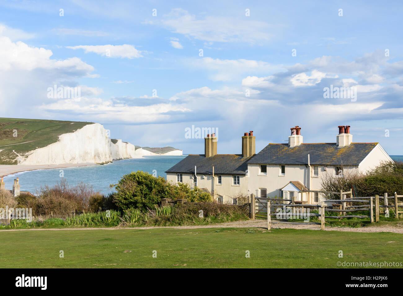 Coastguard cottages, Cuckmere Haven, East Sussex, England, UK Stock Photo