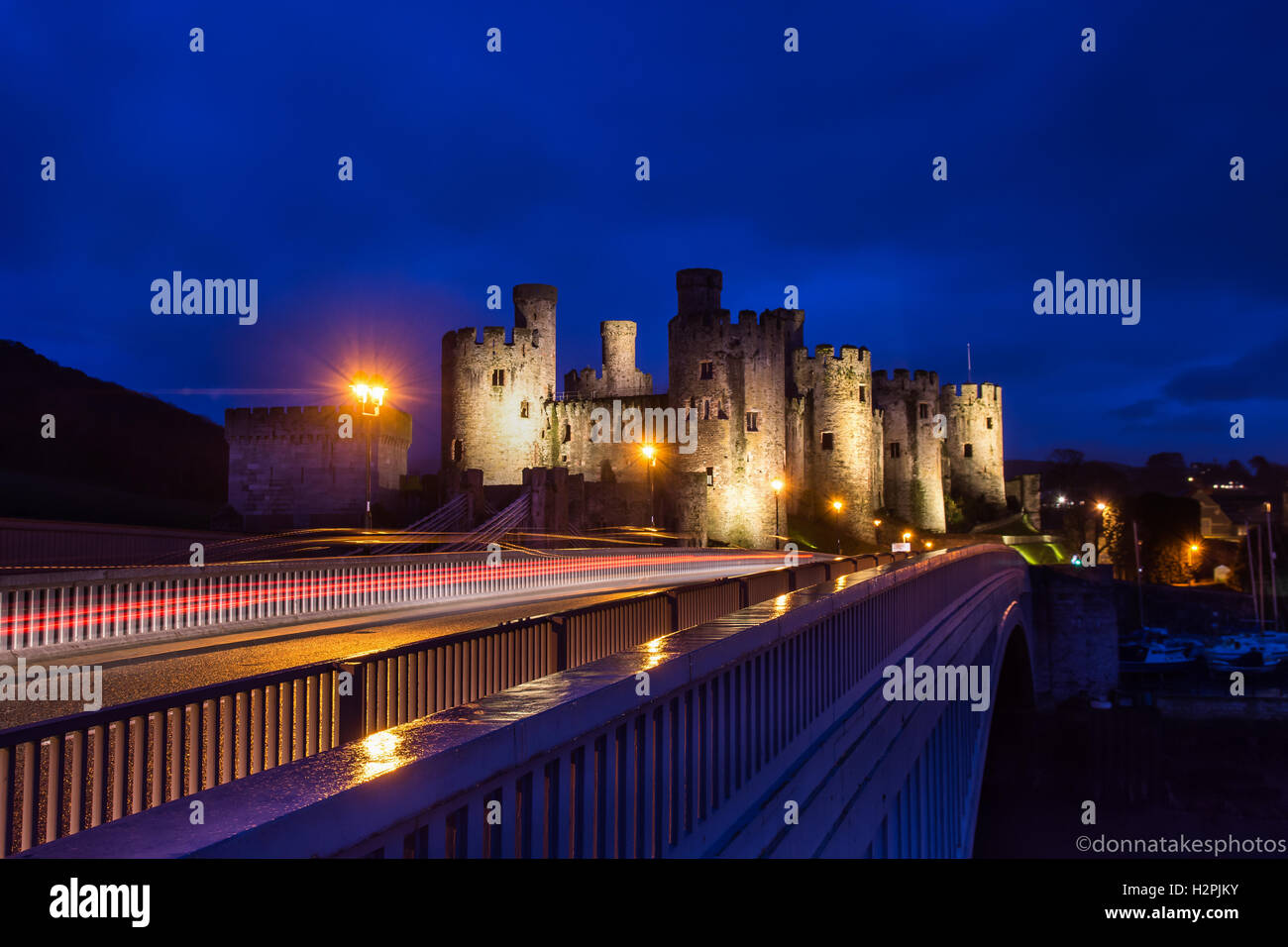 Conwy Castle at night, North wales, England, UK - Stock Image