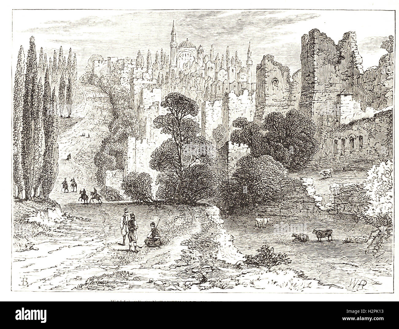 WALLS OF CONSTANTINOPLE IN THE SIXTEENTH CENTURY.- from 'Cassell's Illustrated Universal History' - - Stock Image